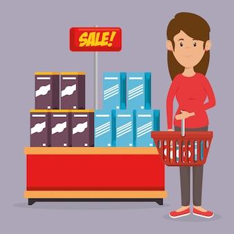 Consument met winkelmandje met boodschappen