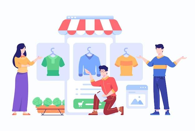 Consumenten bekijken, kiezen en kopen modeartikelen aangeboden door e-commerce marketplace op smartphone application concept