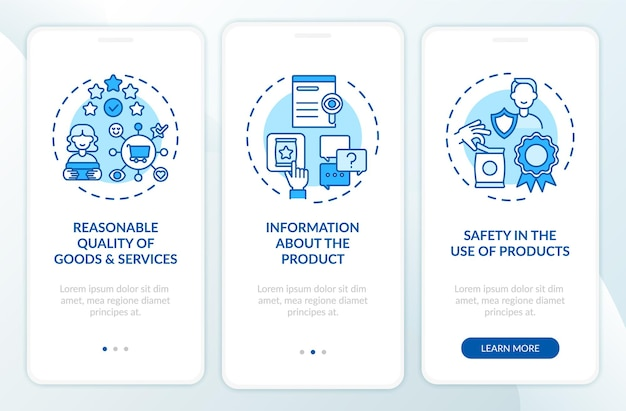 Consumentenrechten onboarding mobiele app-pagina
