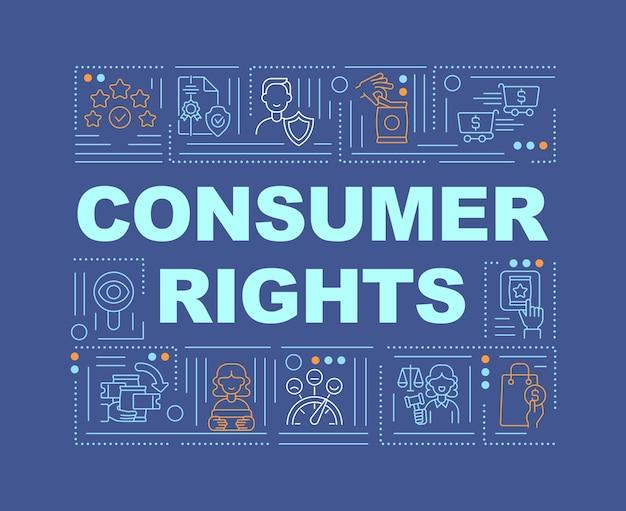 Consumentenrechten woordconcepten. juridische relaties tussen consumenten en bedrijven.