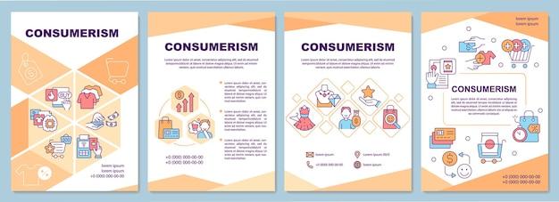 Consumentisme brochure sjabloon. overmatige inkoop. flyer, boekje, folder afdrukken, omslagontwerp met lineaire pictogrammen. vectorlay-outs voor presentatie, jaarverslagen, advertentiepagina's