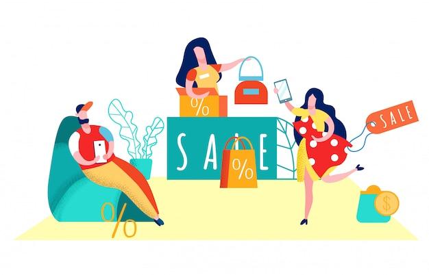 Consumentisme, shopaholisme vlakke afbeelding