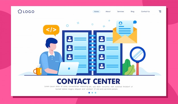 Contact center landing page website