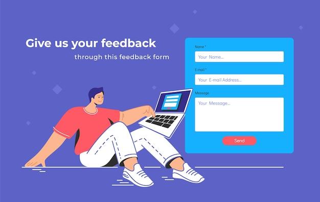 Contact en feedback blanco formulier. platte tiener man zit met laptop en druk op de rode knop van de website contactformulier leeg. een bericht verzenden via feedbackformuliersjabloonontwerp op blauwe achtergrond