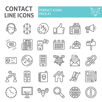 Contact lijn icon set, communicatie collectie