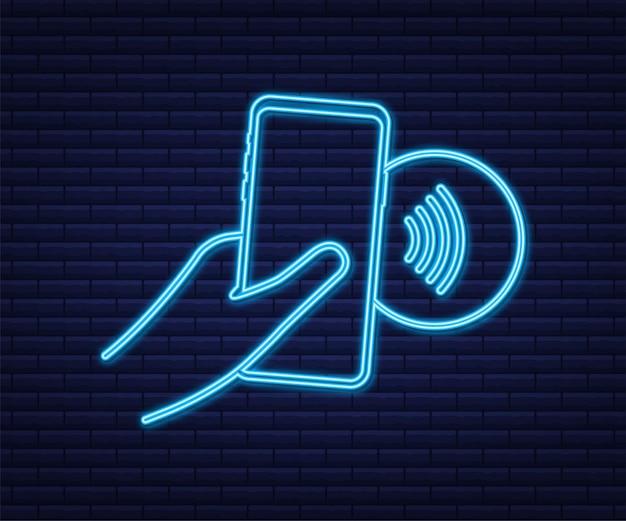 Contactloos draadloos betaalbord-logo nfc-technologie near field communication nfc-neonbord