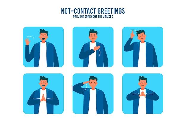 Contactloos groetenconcept