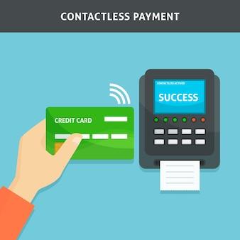 Contactloze betaling met creditcard van de hand
