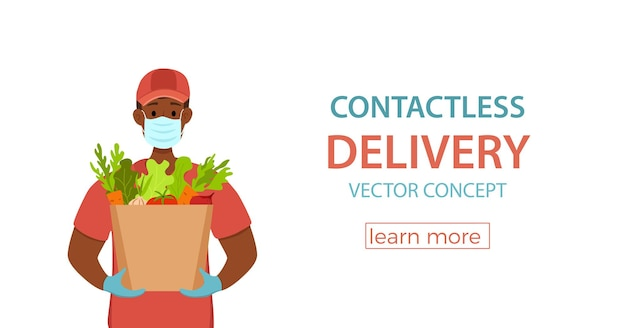Contactloze bezorging tijdens het voorkomen van coronavirus vectorconcept koeriersman