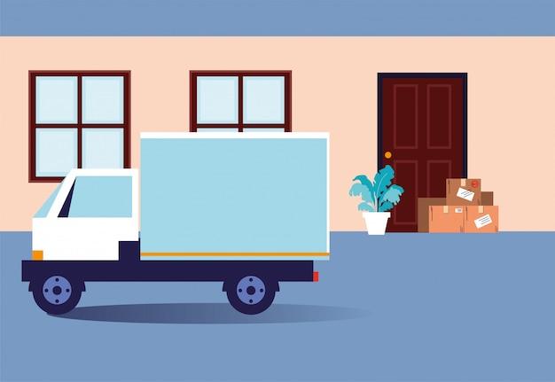 Contactloze levering, dozen met aankopen staan voor de deur