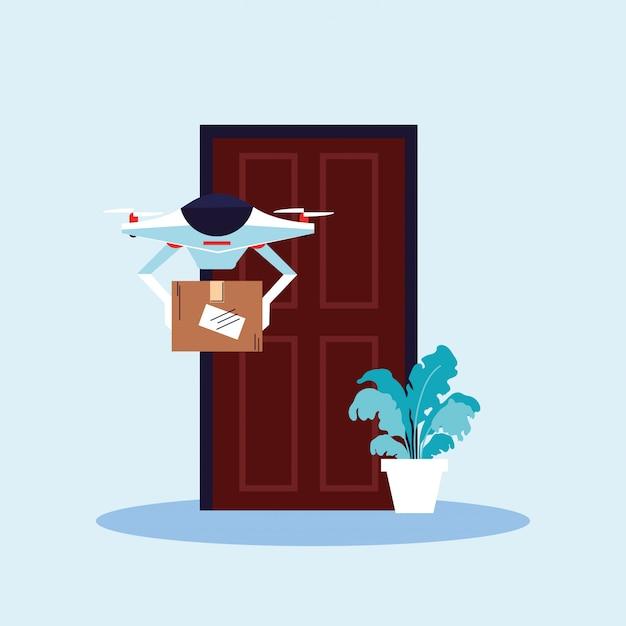 Contactloze levering, drone draagt boodschappendoos de deur