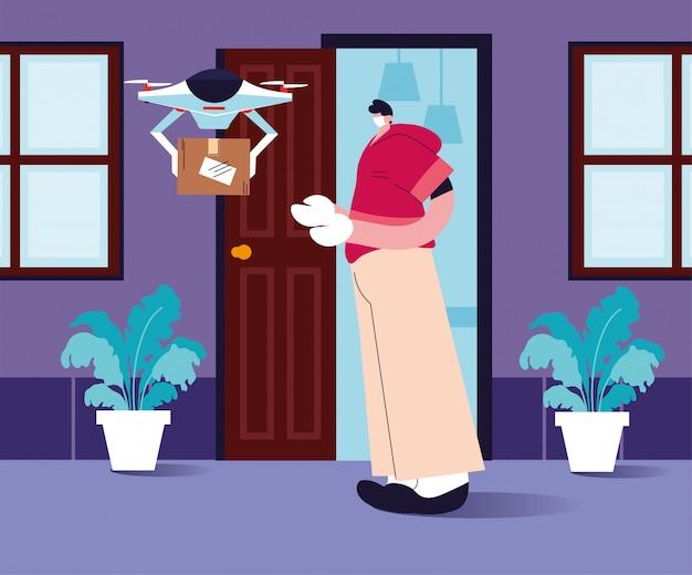 Contactloze levering, drones draagt boodschappendoos een deur