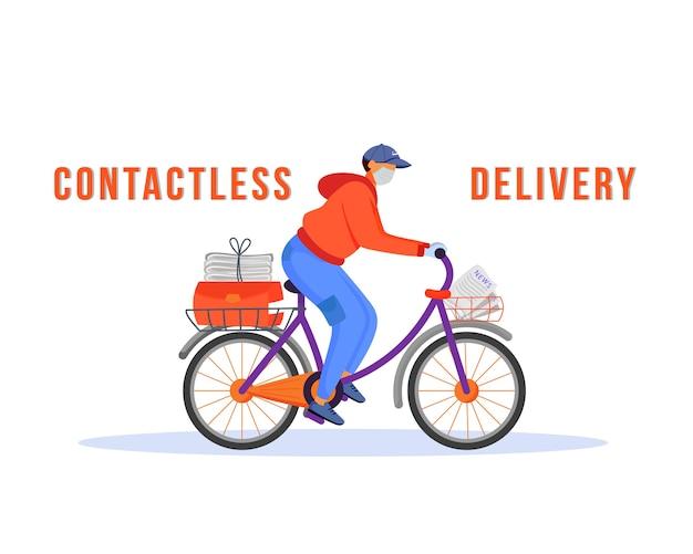 Contactloze levering egale kleur gezichtsloos karakter. kerel die goederen en voedsel verscheept. veilige verzending bezorger in masker op fiets geïsoleerde cartoon afbeelding voor web grafisch ontwerp en animatie