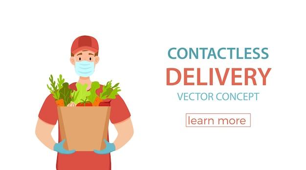 Contactloze levering tijdens de preventie van coronavirus vector concept koerier man medisch masker