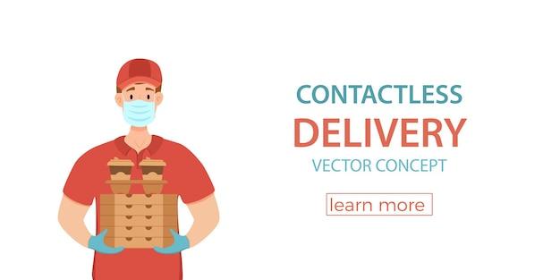 Contactloze levering tijdens de preventie van het coronavirus vectorconcept. koeriersman in een medisch masker en handschoenen die de illustratie van het doosbeeldverhaal houden. covid-19. contactloze veilige service quarantaine.