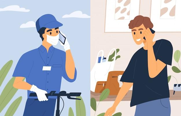 Contactloze verzending service vlakke afbeelding. mannelijke koerier in medische masker en handschoenen praten telefoon met klant.