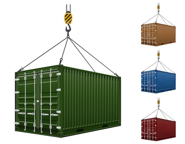 Container het hangen op de haak van een kraan vectorillustratie