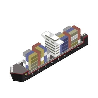 Container op een schip op achtergrond wordt geïsoleerd die