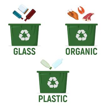 Container voor het recyclen van afval sorteren - plastic, organisch, plastic. pictogram afval, prullenbak en recycling
