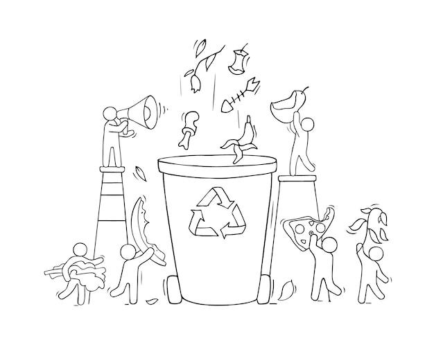 Container voor organisch afval. cartoon vuilnisbak voedselproducten met mensen. doddle vectorillustratie geïsoleerd op wit.