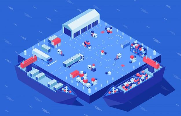 Container werf isometrische vectorillustratie. goederenvervoer, handelswaar en industriële vracht op logistieke hub. maritieme handel, distributie en opslag van goederen, levering van bezorgdiensten