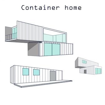 Container woningbouw met logo geïsoleerd