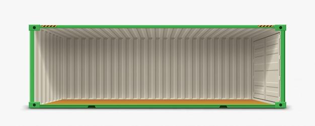 Container zonder zijwand op wit