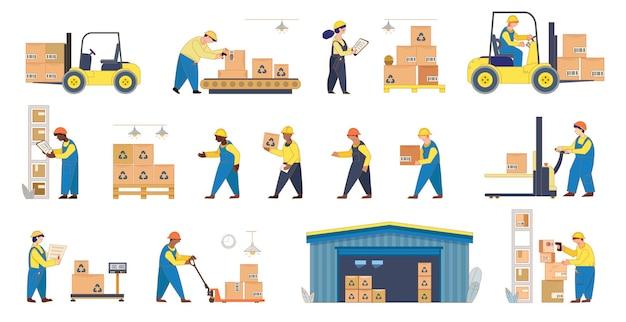 Containerschip en magazijnmedewerkers. laden, stapelen van goederen met elektrische handheffers en vorkheftruck.