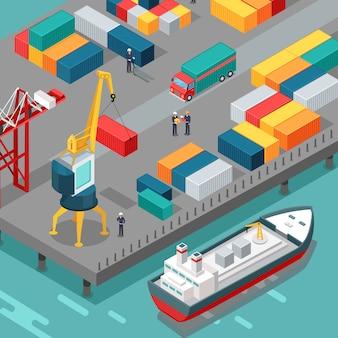 Containerterminal. platform bevoorradingsschip.