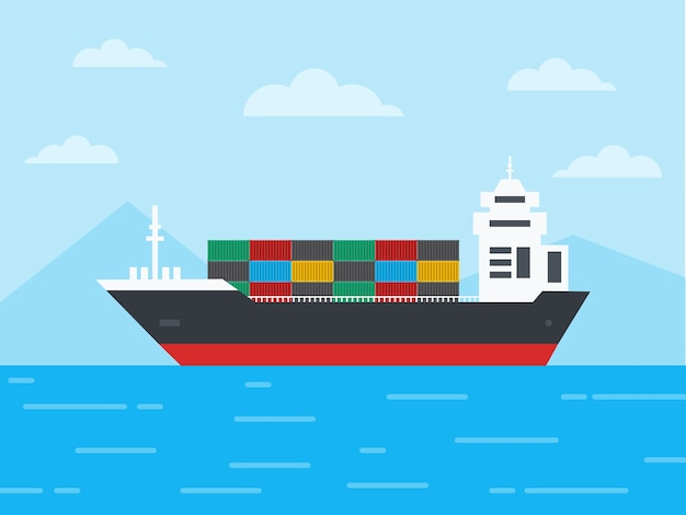 Containervrachtschip in de oceaan en zeil door de ijsbergen, logistiek en transportconcept, illustratie.