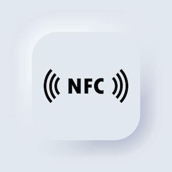 Contant betalen pictogram. nfc-pictogram. pictogram voor contactloos betalen. draadloos betalen. kredietkaart. neumorphic ui ux witte gebruikersinterface webknop. neumorfisme. vector illustratie