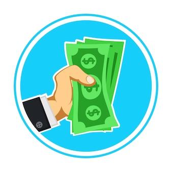 Contant geld in hand zakenmanembleem op wit.