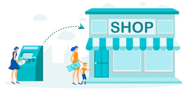 Contant geld opnemen via atm voordat winkelen cartoon