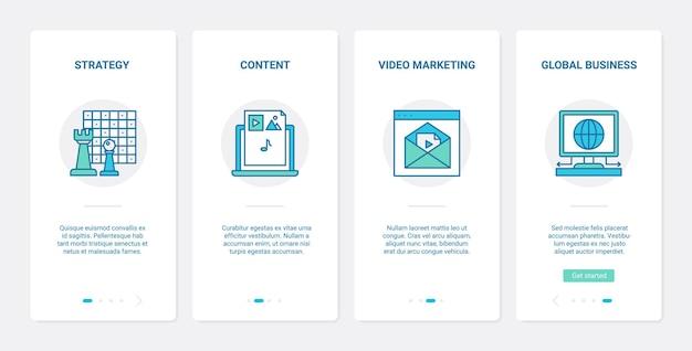 Content bedrijfsstrategie videomarketing ux ui onboarding mobiele app-paginaschermset