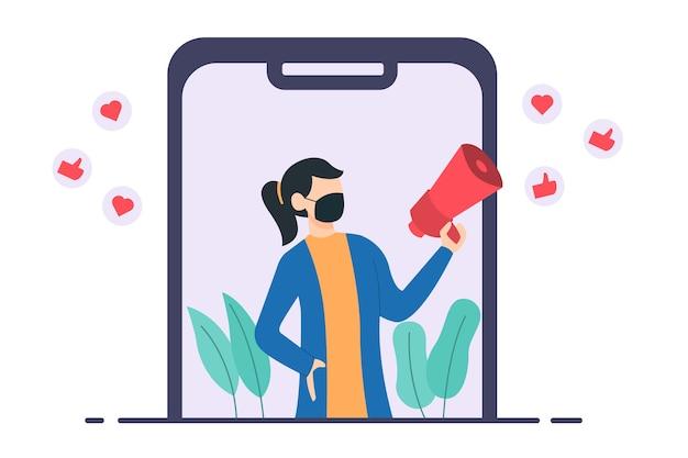 Content creator op social media illustratie