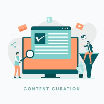 Content curation illustratie concept illustratie voor websites