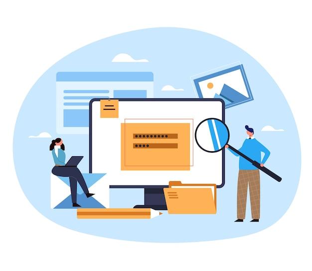 Content management bloggen promotie advertentie strategie analyse concept login wachtwoord website concept illustratie invoeren