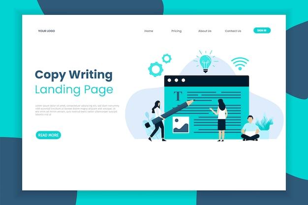 Content schrijven website interface bestemmingspagina sjabloon. bestemmingspaginasjabloon