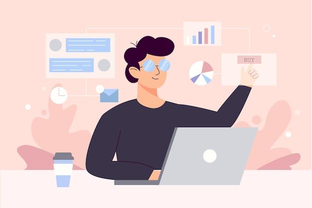 Contentmanager op het werk hand getrokken. multitasking vaardigheden concept. man die verantwoordelijk is voor smm-strategieprocessen, stripfiguur. freelance analist voor e-mailmarketing.