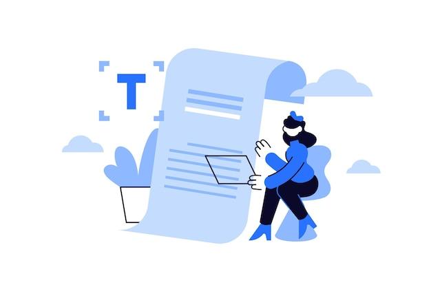Contentmanager tekstschrijver bezig met nieuw project