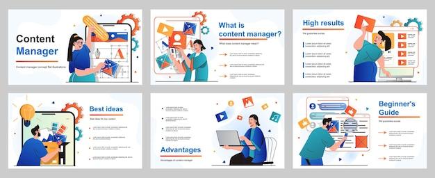 Contentmanagerconcept voor presentatiediasjabloon mensen selecteren kleuren en genereren ideeën