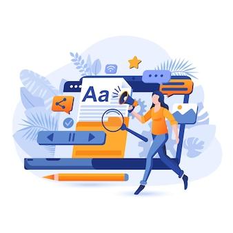Contentmarketing platte ontwerp concept illustratie