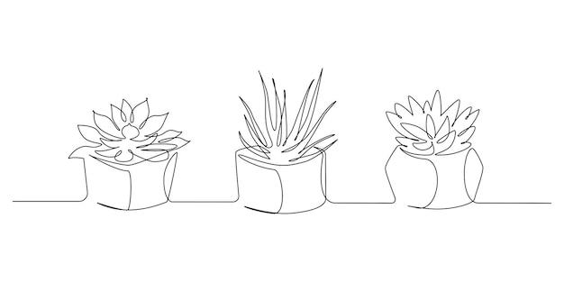 Continu één lijntekening van drie huisplanten in potten op witte achtergrond