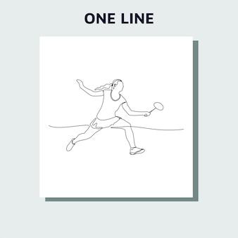 Continu een lijntekening van een persoon die badminton speelt