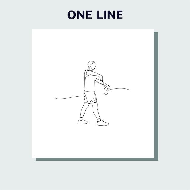 Continu een lijntekening van een tienermens die badminton speelt