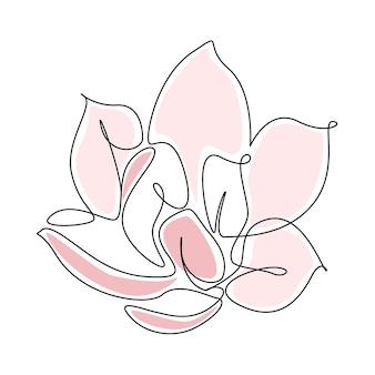 Continu een lijntekening van roze bloem geïsoleerd op een witte achtergrond