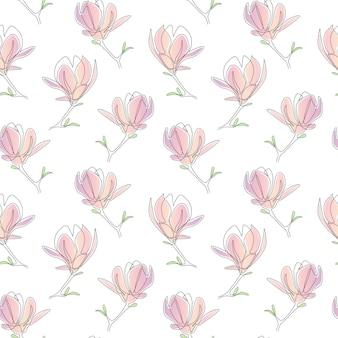 Continu een lijntekening van roze bloemen naadloos patroon op witte achtergrond
