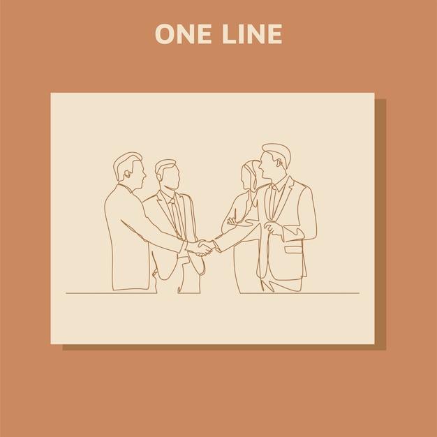 Continu lijntekening concept van mensen uit het bedrijfsleven bijeen met handdruk.