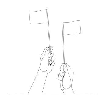 Continu lijntekening hand hijsen vlag overgave concept vectorillustratie
