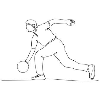 Continu lijntekening van bowlingspeler vectorillustratie